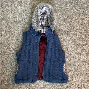 Flannel Knit Hooded Vest